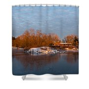 Cold Ice Warm Light - Early Winter Morning On The Lake Shore Shower Curtain