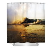 Cold Morning Sunrise At Grand Prismatic Spring Shower Curtain