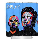 Coldplay Band Portrait Recycled License Plates Art On Blue Wood Shower Curtain