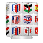 Collage Of Flags Of Different Nation  Shower Curtain
