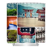 Collage Of Japan Images Shower Curtain