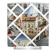 Collage Of Riga Shower Curtain
