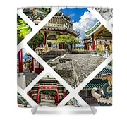 Collage Of Taoist Temple In Cebu, Philippines. Shower Curtain