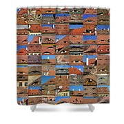 Collage Roof And Windows - The City S Eyes Shower Curtain