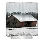 Collapsing Barn Shower Curtain