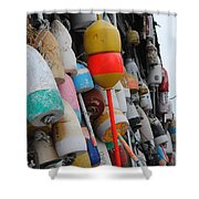 Collection Of  Buoys In Bar Harbor Maine Shower Curtain