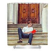 College Student Reading Red Book, Sitting On Stairs, Relaxing Ou Shower Curtain