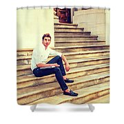 College Student Sitting On Stairs, Relaxing Outside Shower Curtain
