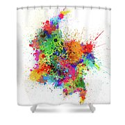 Colombia Paint Splashes Map Shower Curtain