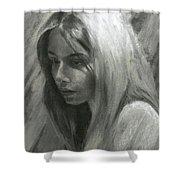 Portrait Of Woman In Charcoal Shower Curtain