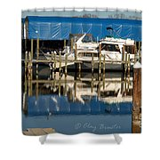 Colonial Beach Marina Shower Curtain