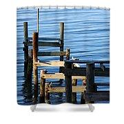 Colonial Beach Pilings Shower Curtain