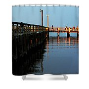 Colonial Beach Town Pier Shower Curtain