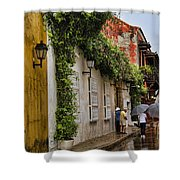 Colonial Buildings In Old Cartagena Colombia Shower Curtain