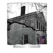 Colonial House With Flag Shower Curtain