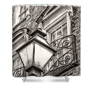 Colonial Lamp And Window Bw Shower Curtain