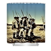 Colonial Soldiers Standing At Attention Shower Curtain