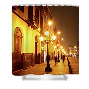 Colonial Street In Central Lima At Night Shower Curtain