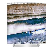 Color Movement-blue And Beige Shower Curtain
