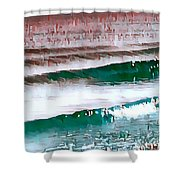 Color Movement-turquoise And Red Shower Curtain