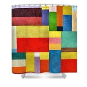 Color Panel Abstract With White Buttons Shower Curtain