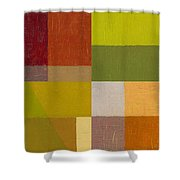 Color Study With Orange And Green Shower Curtain by Michelle Calkins