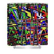Color Works Abstract Shower Curtain