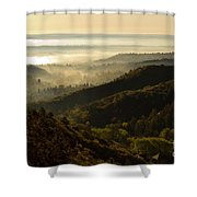 Colorado And Manitou Springs Valley In Fog Shower Curtain