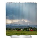 Colorado Rocky Mountain Red Barn Country Storm Shower Curtain
