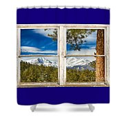 Colorado Rocky Mountain Rustic Window View Shower Curtain