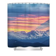 Colorado Rocky Mountain Sunset Waves Of Light Part 1 Shower Curtain