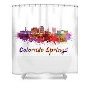 Colorado Springs V2 Skyline In Watercolor Shower Curtain
