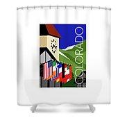 Colorado Vail Clocktower Shower Curtain by Sam Brennan
