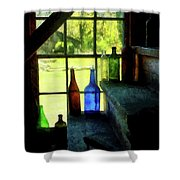 Colored Bottles On Steps Shower Curtain