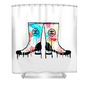 Colored Chanel Boots Shower Curtain