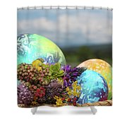 Colored Easter Eggs In Basket And Spring Flowers Shower Curtain