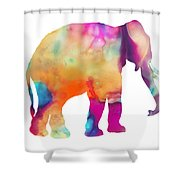 Colored Elephant Painting Shower Curtain