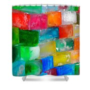 Colored Ice Bricks Shower Curtain