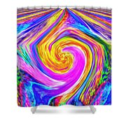 Colored Lines And Curls Shower Curtain