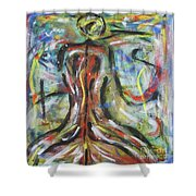 Colored Male Back Shower Curtain