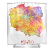 Colored Map Of Poland Shower Curtain