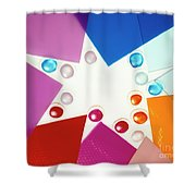 Colored Plexiglas Shapes Shower Curtain