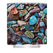 Colored Polished Stones Shower Curtain