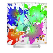 Colored Splashes On A Blue Background Shower Curtain