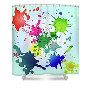 Colored Splashes On A Very Beautiful Blue Background Shower Curtain