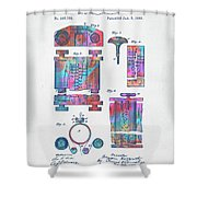 Colorful 1889 First Computer Patent Shower Curtain by Nikki Marie Smith