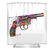 Colorful 1896 Wesson Revolver Patent Shower Curtain by Nikki Marie Smith