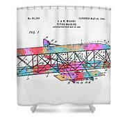 Colorful 1906 Wright Brothers Flying Machine Patent Shower Curtain