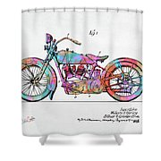 Colorful 1928 Harley Motorcycle Patent Artwork Shower Curtain