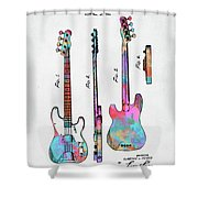 Colorful 1953 Fender Bass Guitar Patent Artwork Shower Curtain by Nikki Marie Smith